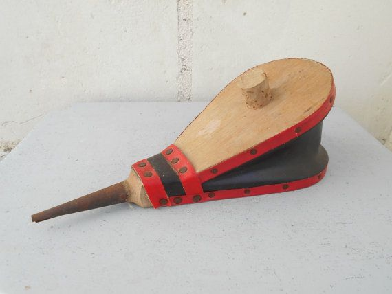 French vintage fireplace bellows small wooden hand by Birdycoconut