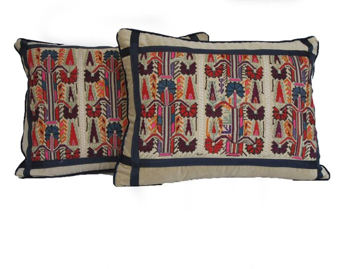 19th C Embroidered Pillow/Pair