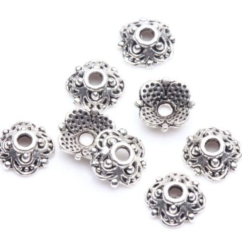 100Pcs-Tibet-Silver-Plated-Flower-Spacer-Bead-Caps-Jewelry-Making-DIY-8x3mm