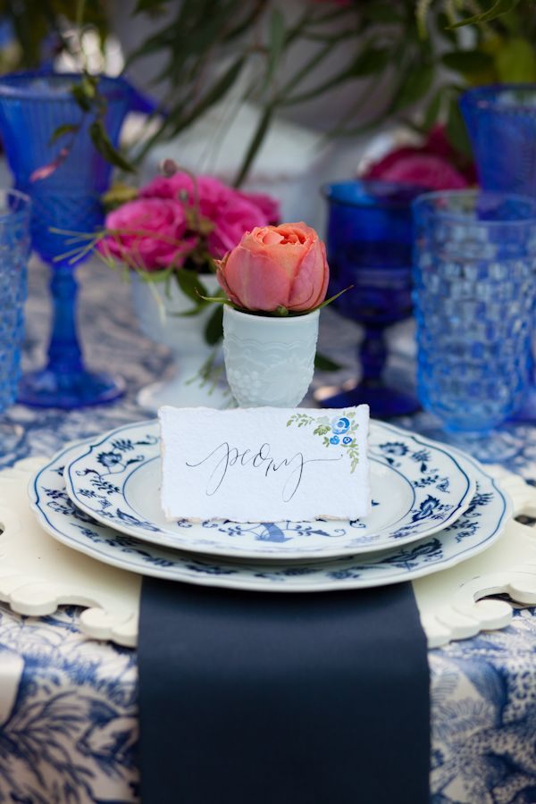 Vintage Blue Danube China makes a head table statement at your wedding reception! @DixiDoesVintage Dixie Does Vintage Rentals in Dallas Tx