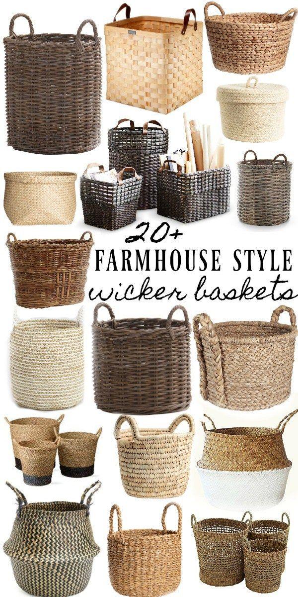 20 Farmhouse Style Wicker Baskets Wicker Baskets Living Room Baskets Farmhouse Baskets