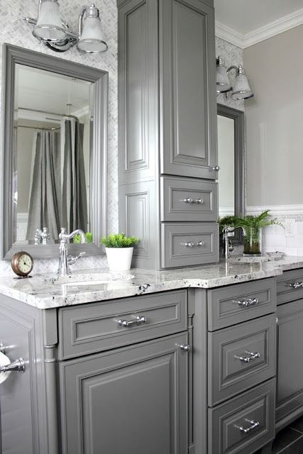 Gorgeous gray kitchens and bathrooms with modern gray for Grey bathroom cupboard