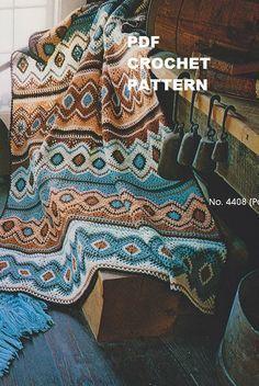 Crochet Navajo Afghan Pattern #KC0014, Intermediate Skill Level, Crochet PDF…