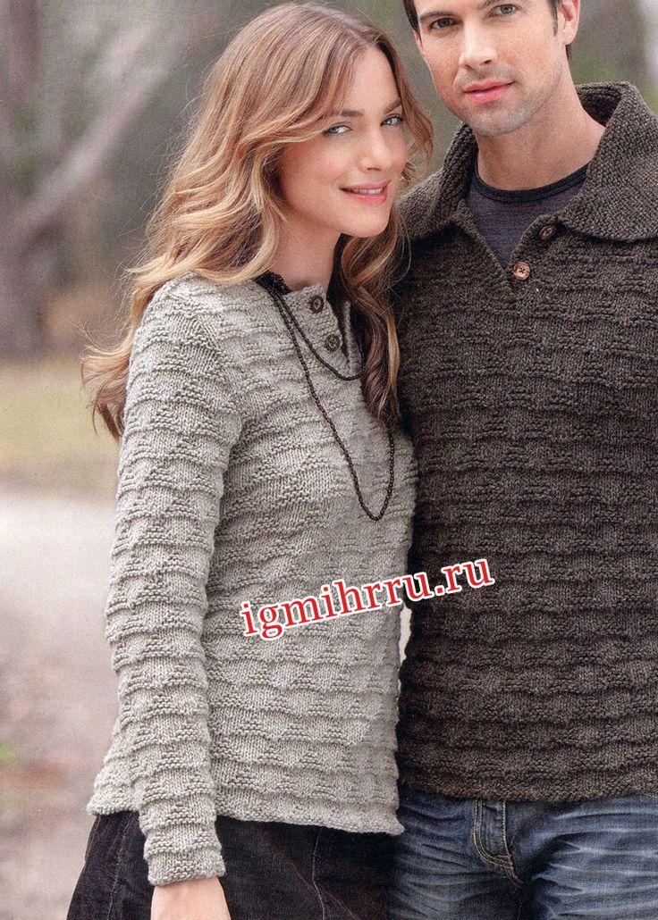 Серый пуловер в стиле casual с застежкой поло. Вязание спицами