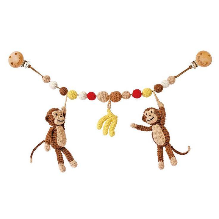 Sindibaba wandelwagen spanner met aapjes bruin met geel