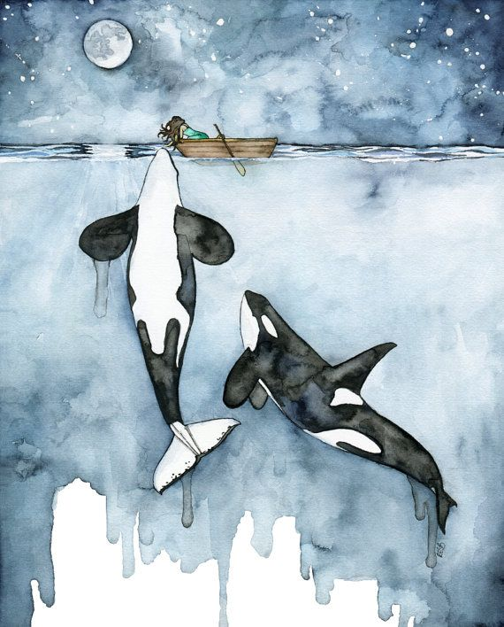 "Watercolor Orca and Girl Print - Painting titled, ""Poseidon's Touch"", Orca…"