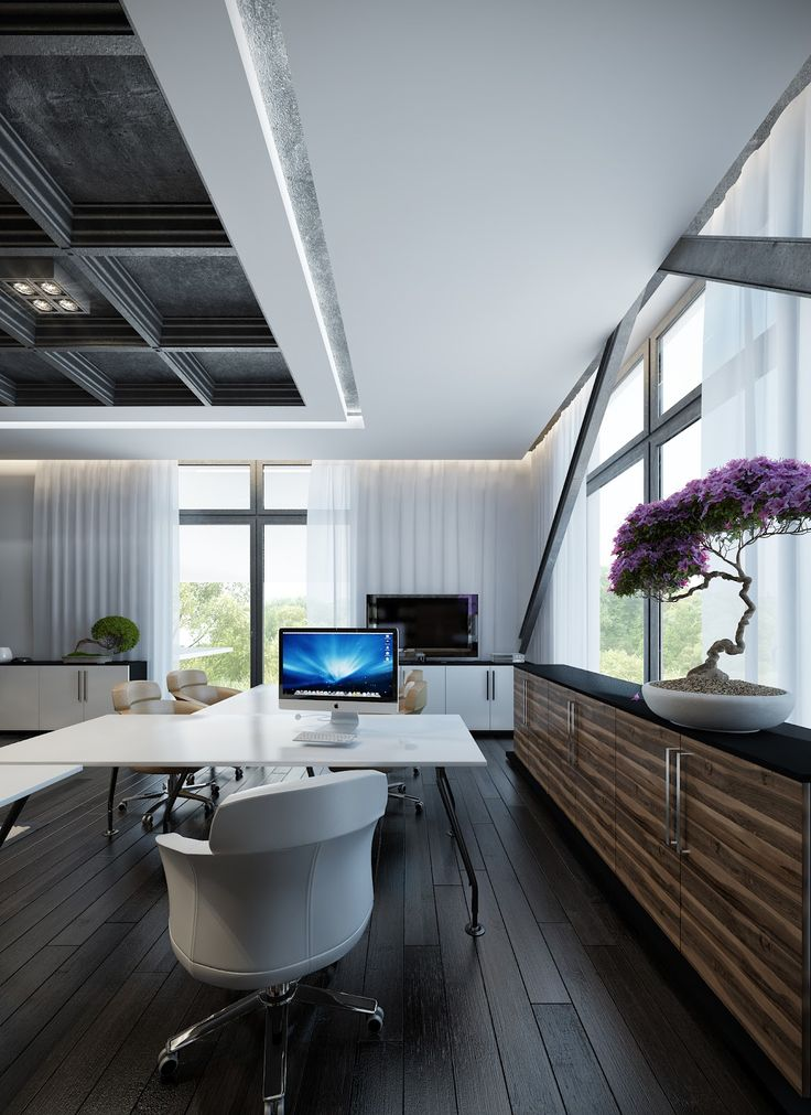 Contemporary White Themed Home Office with Beautiful White iMac Desk and Comfortable White Leather Small Chair also Dark Wood Flooring