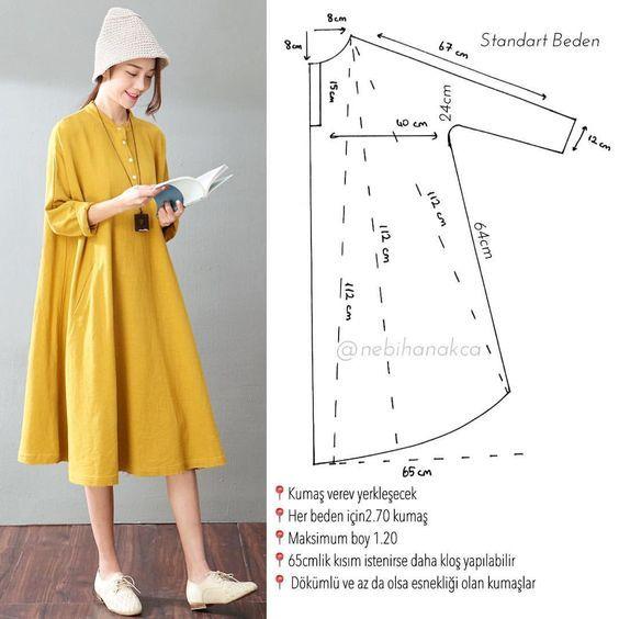 """484 Beğenme, 11 Yorum - Instagram'da N E B İ H A N A K Ç A (@nebihanakca): """"Geçen gün hikayede bahsettiğim elbise-tunik model tüm kollu ve kloş kesim. Kollar bütün olduğundan…"""""""