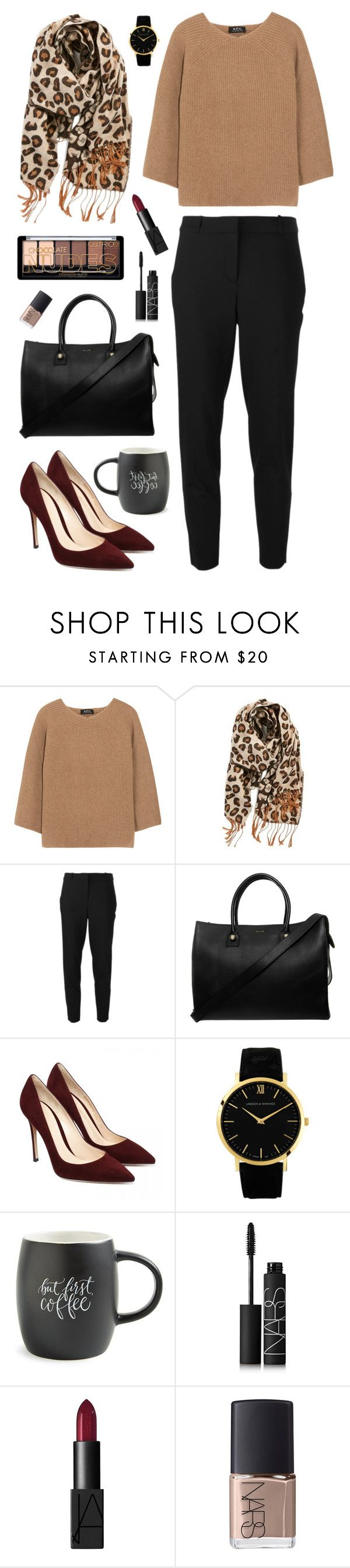 """""""Brown and Scarf"""" by nabilaclydea on Polyvore featuring A.P.C., BP., MICHAEL Michael Kors, Paul & Joe, Larsson & Jennings, Printable Wisdom, NARS Cosmetics and scarf"""