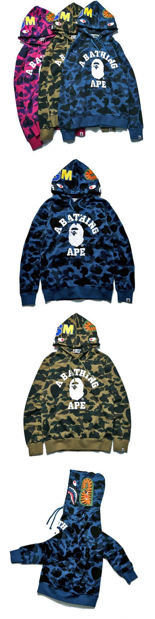 Sweatshirts Hoodies 155194: A Bathing Ape Hoodie Bape Shark Jacke Camo Jacket Pullover Sweatshirt Coat Bape -> BUY IT NOW ONLY: $37.59 on eBay!