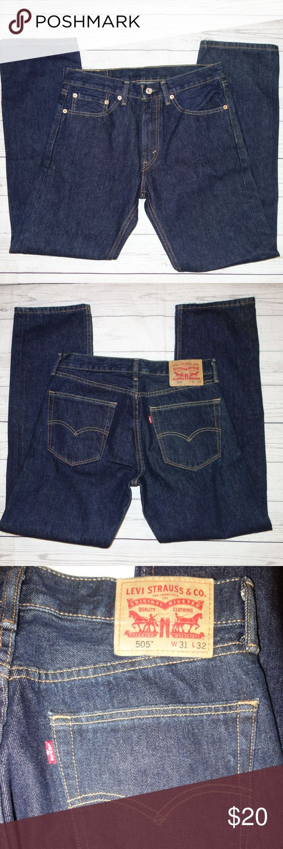 Levis 505 Jeans Straight Leg 31 32 Classic Dark Levis 505 Jeans Straight Leg 31 32 Classic Dark Wash Button and zip fly Dark wash never worn! Waist is 31 Inseam is 32 Classic 5 pocket styling I have other items like this listed Thank you for looking! Levi's Jeans Straight