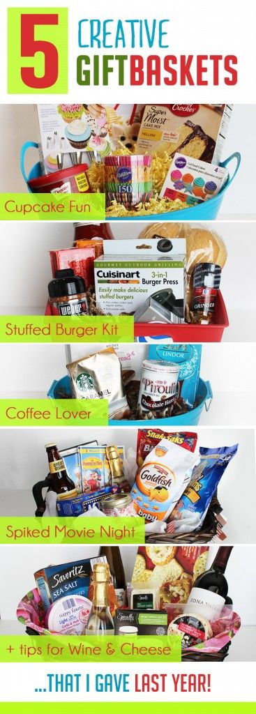 I love these creative ideas for unique gift baskets--especially the Cupcake and Stuffed Burger themed ones!