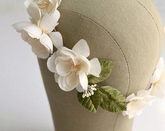 Bruids kroon, ivoor bloem kroon, bruiloft zendspoel, circlet, haar krans, bruids kroon, bruiloft haartoebehoren - Adaline
