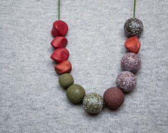 Polimero argilla collana perline collana verde oliva collana