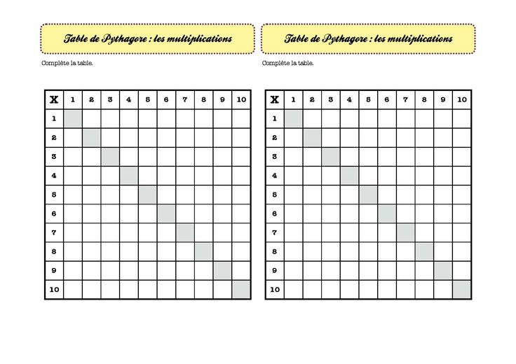 264 best images about cole ce2 on pinterest plan de travail montessori and telling time - Table de pythagore a imprimer ...