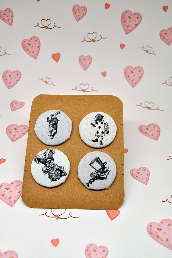 Set of 4 Alice in wonderland fabric covered by buttoninthebox, €12.00