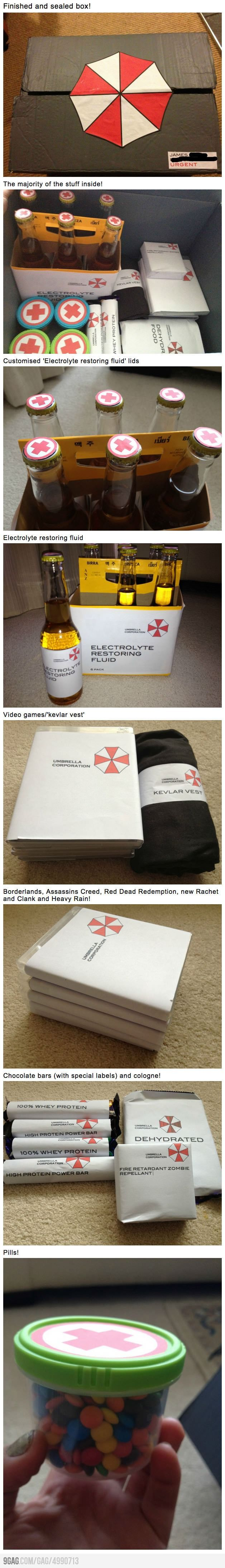 Care package inspired by Resident Evil. Could be fun to theme a gift in a similiar vein.