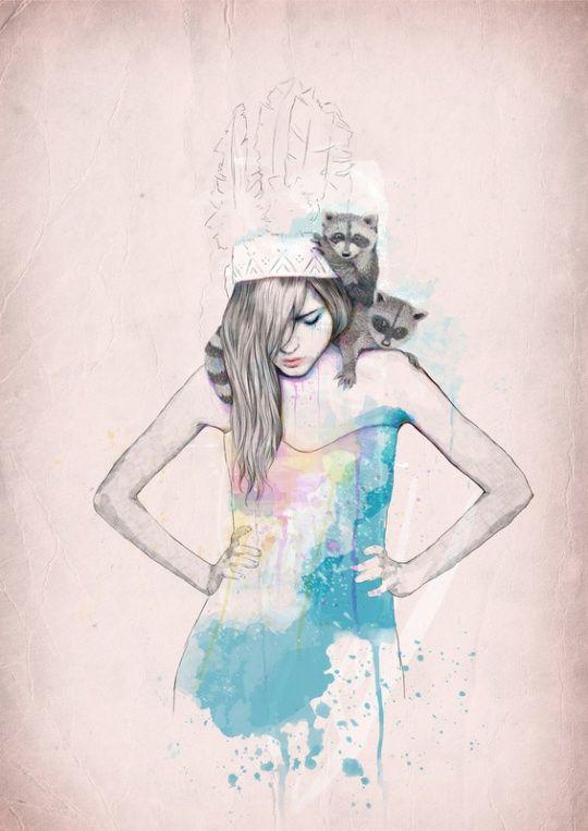 .: Color, Ariana Perez, Art Prints, Raccoons, Arianaperez, Digital Illustrations, Barcelona Spain, Fashion Illustrations, My Style