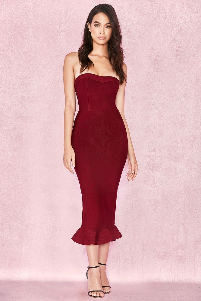 1a4a62d2057e HOUSE OF CB 'Fabrizia' Wine Bandage Strapless Fluted-Hem Dress M 10 / 12 SJ  1959 #fashion #clothing #shoes #accessories #womensclothing #dresses (ebay  link)