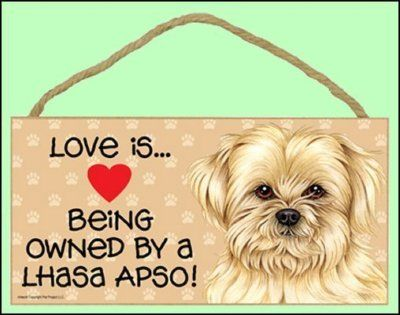 """Love is Being Owned by a Lhasa Apso 10"""" x 5"""" Wooden Dog Sign"""