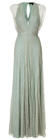 Jenny Packham Beaded Vneck Gown