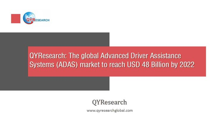 QYResearch forecast the global Advanced Driver Assistance Systems (ADAS) market to reach USD 48 Billion by 2022 from USD 11 Billion in 2016, growing at a CAGR of 26.98% between 2016 and 2022.
