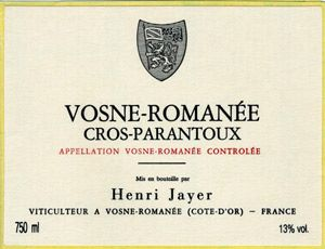 Vosne-Romanée 1er Cru Cros Parantoux Domaine Henri Jayer 2001
