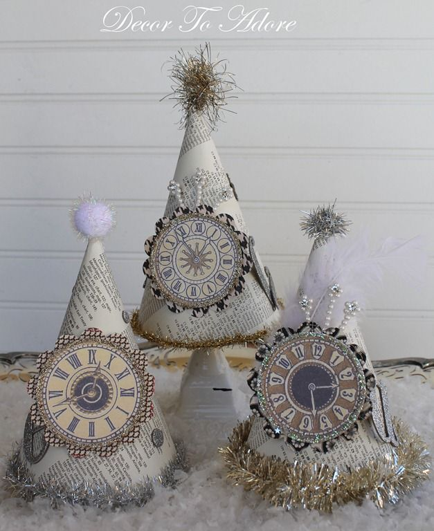 Parisian Party Hats Tutorial / http://decortoadore.blogspot.ca/2012/12/parisian-party-hats-for-new-years-eve.html