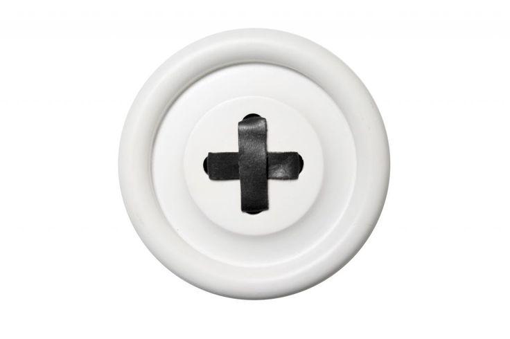 Dřevěný věšák Button White/black 18 cm   Nordic Day