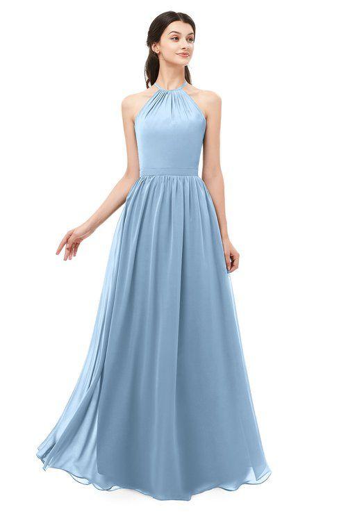 de7aec69ba ColsBM Irene Dusty Blue Bridesmaid Dresses Sleeveless Halter Criss-cross  Straps Sexy A-line Sash