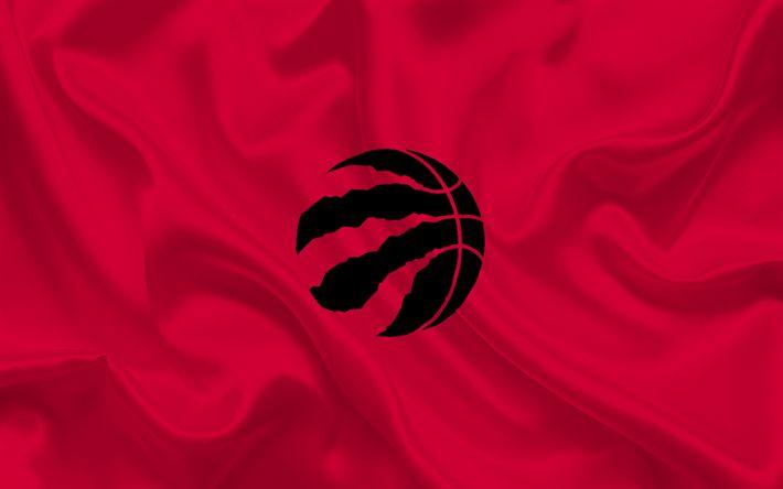 Descargar fondos de pantalla baloncesto, Toronto Raptors, club de Baloncesto, la NBA, Toronto, Canadá, Toronto Raptors emblema, logo, de seda roja