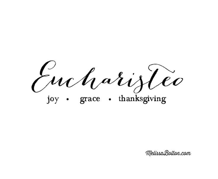 "Eucharisteo, thanksgiving, envelops the Greek word for grace, charis. But it also holds its derivative, the Greek word chara, meaning ""joy."" #thanksgiving"