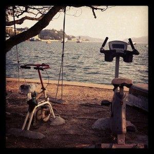 Perfect gym setup - get hot and sweaty on the bike, go for a swim.