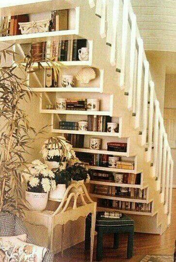 Bookshelf under stair...