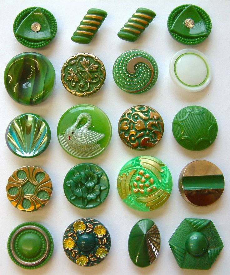 20 Larger Vintage Green Glass Buttons, Swan, Moonglows, Enamelled, Art Deco