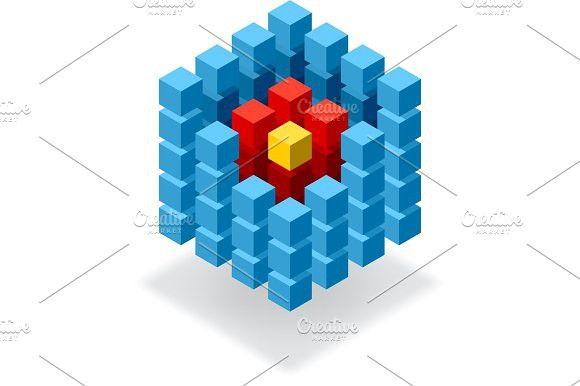 Segmented blue cube infographic. Graphic Design Infographics