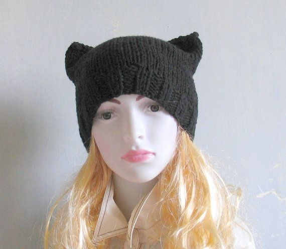Black Cat Hat Knit Cat Ear Hat or Cat Beanie Womens by vintachi