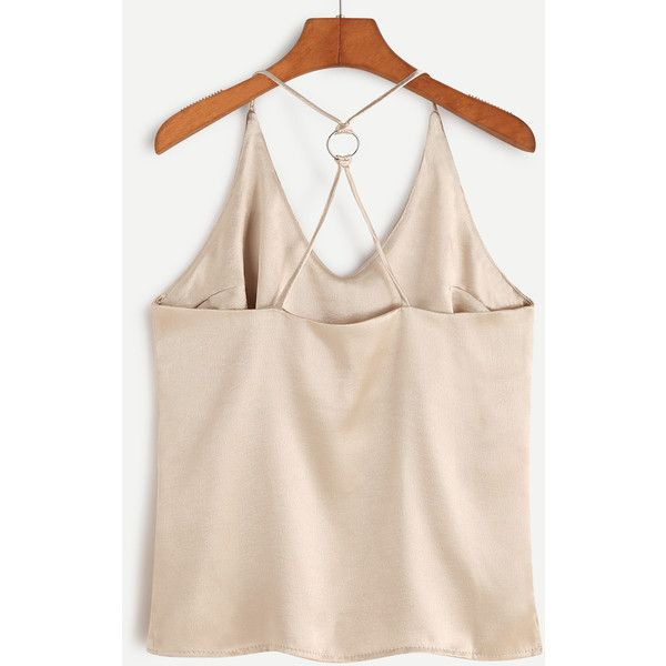 Gold Metal Ring Back Slit Side Cami Top ❤ liked on Polyvore featuring tops, cami tank, pink camisole top, cami top, pink cami and camisole tank top
