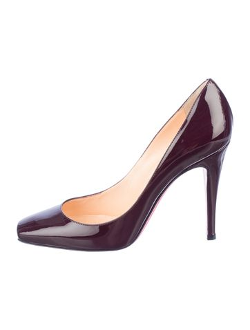 Christian Louboutin oxblood patent leather square-toe pumps with covered heels and signature red soles