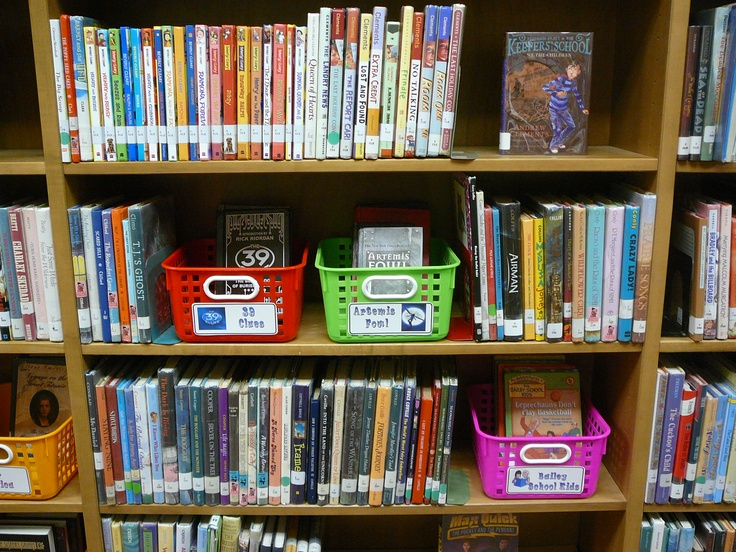 Put series books in crate on the library shelves
