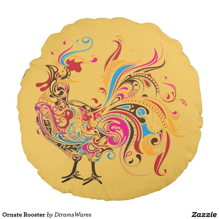 Ornate Rooster Round Pillow