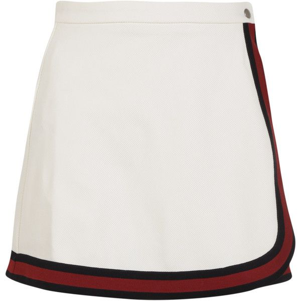 Gucci Mini-Skirts (€324) ❤ liked on Polyvore featuring skirts, mini skirts, white, jersey mini skirt, mini skirt, white jersey, white mini skirt and short mini skirts