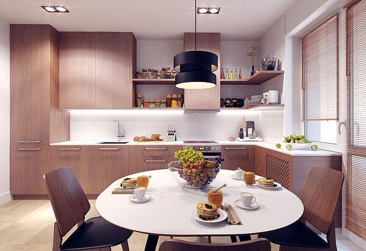 wooden kitchen with white top  #SMIRNOVAINTERIORSPARIS