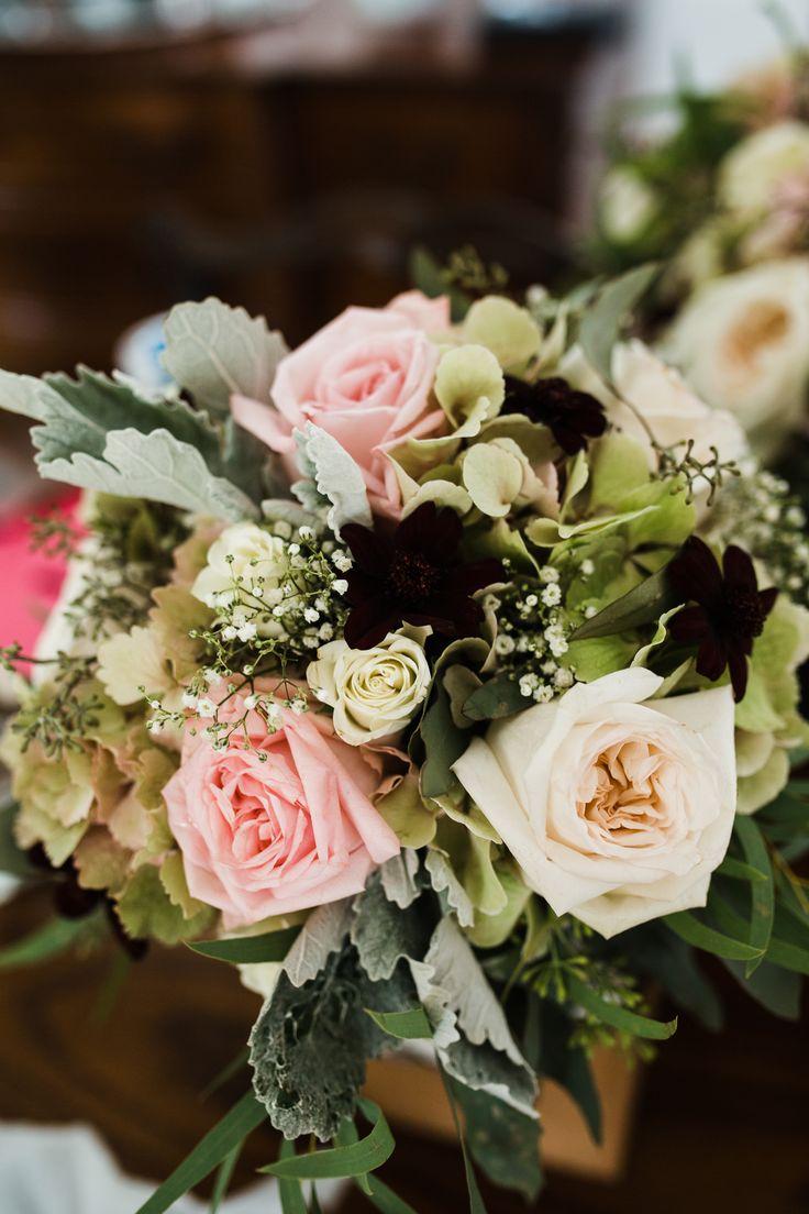 Garden Rose Bouquet, dusty miller, antique green hydrangea, babies breath and cosmos