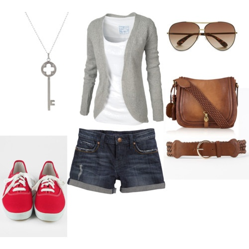 Grey Cardigan, Shorts, Keds, Messenger Bag. Everyday wear.
