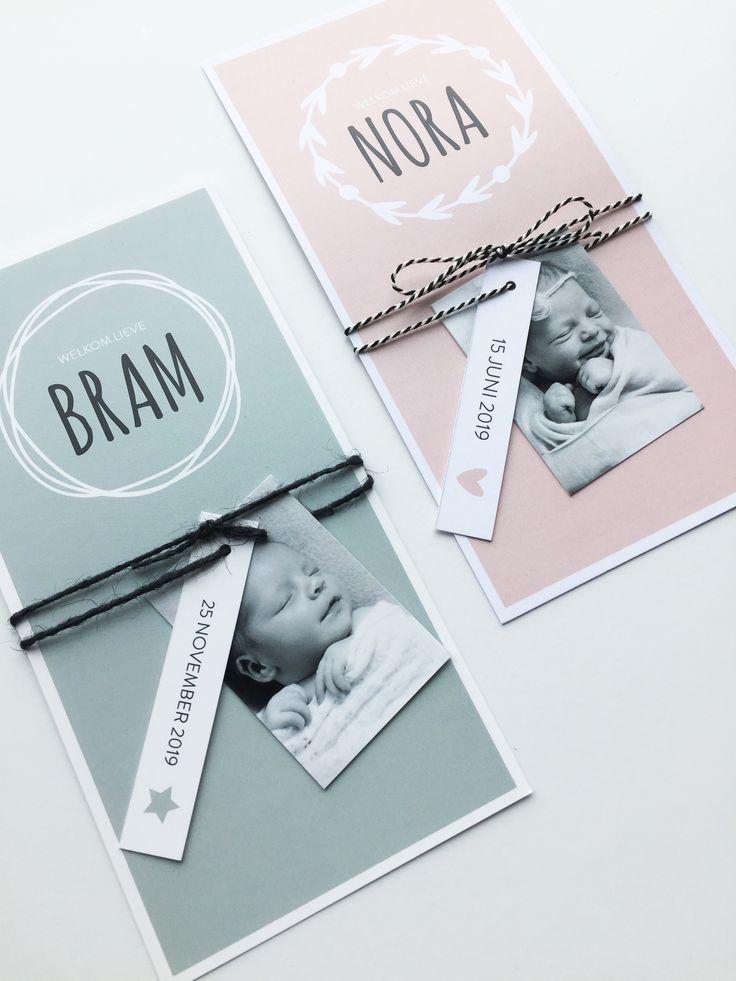 Geboortekaartje voor een jongen of meisje met DIY (foto)labels!