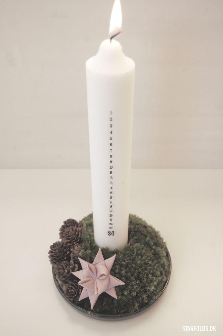 DIY Dekoration med kalenderlys og julestjerne flet - Starfolds.dk