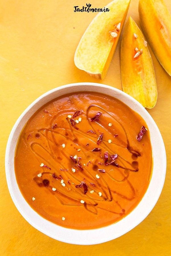 Krem z pieczonej dyni i pomidorów z syropem klonowym » Jadłonomia · wegańskie przepisy nie tylko dla wegan