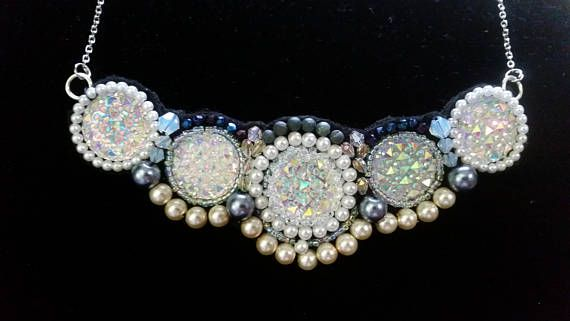 Beaded Bridal Necklace  faux druzy white gray black jewelry wedding bride pearl aurora