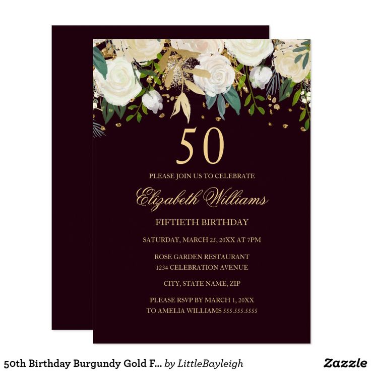 144 best birthday 50 years images on pinterest floral 50th birthday burgundy gold floral invitation stopboris Image collections